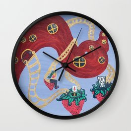 Lady Galaxy's Hair Home with Strawberry Moons Wall Clock