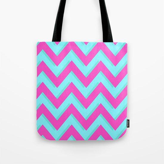 3D CHEVRON TEAL & PINK Tote Bag