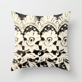 Nana's Lace, b/w Throw Pillow