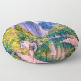 Mountain landscape with forest and river Floor Pillow
