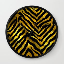 Gold and black zebra design Wall Clock
