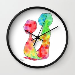 """LOVE LOVE LOVE"" Original Watercolor Painting by Lenna Arty Wall Clock"