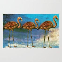 Tropical Flamingo Illustration On Watercolor - Birds Animals Rug