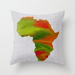 Colorful Art Africa Map Throw Pillow