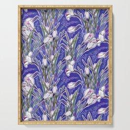White Crocuses Spring Flowers Botanical Floral Pattern Ultramarine Blue Serving Tray