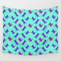 illuminati Wall Tapestries featuring cat pattern by Oh wow!
