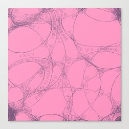 Creamy Strawberry pink yoghurt doodel design Canvas Print