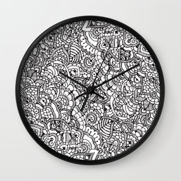Handrawn intricate doodle/zentangle Wall Clock