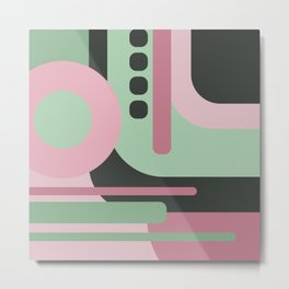 Art Deco Composition Pink and Green #2 Metal Print