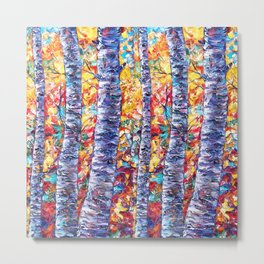 Autumn Aspen Trees Contemporary Painting with a Palette Knife Metal Print