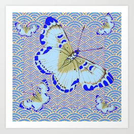 ORIENTAL STYLE BLUE-WHITE EXOTIC BUTTERFLY BLUE ART Art Print