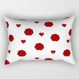 cute lovely pattern with red rose and hearts Rectangular Pillow