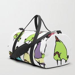 Hens on white Duffle Bag
