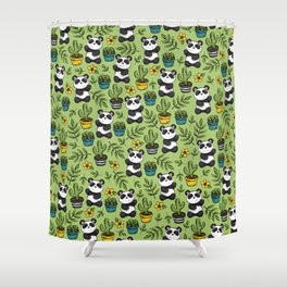 Little Panda Print, Baby Panda, Panda Bear, Boho Panda, Succulents and Flower Shower Curtain