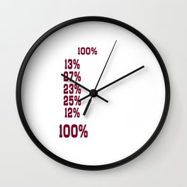 I Give 100% at School Funny Graphic T-shirt Wall Clock