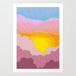 Sixties Inspired Psychedelic Sunrise Surprise Art Print