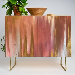 Blush with Gold Abstract Credenza