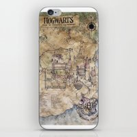 hogwarts iPhone & iPod Skins featuring Hogwarts Map by Sarah Ridings