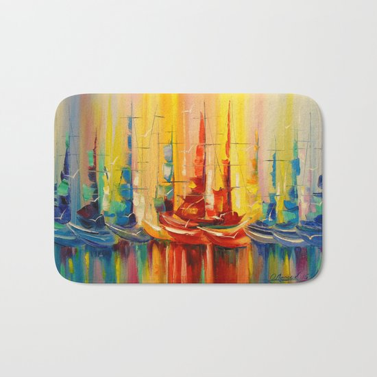 Rainbow boats Bath Mat