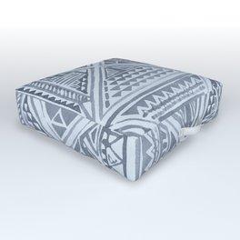 Simply Tribal Tile in Indigo Blue on Sky Blue Outdoor Floor Cushion