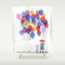 girl with balloons whimsical watercolor illustration Shower Curtain