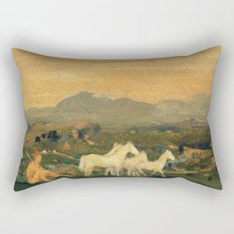 Horses Of Attica - Arthur Bowen Davies Rectangular Pillow