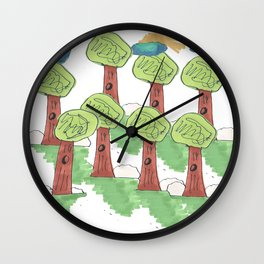 TREES UNDER THE CLOUNDS Wall Clock