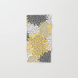 Modern Elegant Chic Floral Pattern, Soft Yellow, Gray, White Hand & Bath Towel