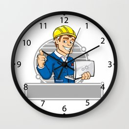 cartoon engineer with notebook Wall Clock