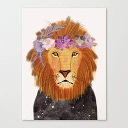 Lion with flowers on head Canvas Print