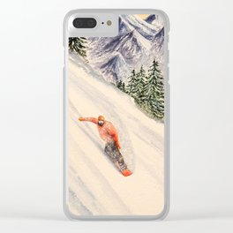 LET'S GO SNOWBOARDING Clear iPhone Case