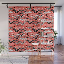 Beautiful graphic illustration of the sea snake, Moray Wall Mural