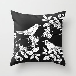 Birds on Branches, Drawing (White on Black) Throw Pillow