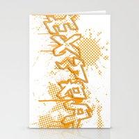 grafitti Stationery Cards featuring extra splash orange grafitti design by sleepwalkerMTS