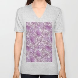 Pastel lilac pink watercolor tropical palm tree leaves Unisex V-Neck