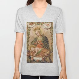 The Virgin Adoring the Christ Child with Two Saints Unisex V-Neck