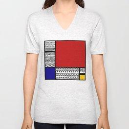Pattern Mondriaan Unisex V-Neck
