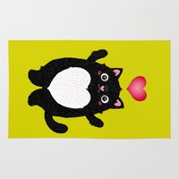 fat Area & Throw Rugs featuring Fat Cat by Anna Alekseeva kostolom3000