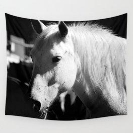 White Horse-Dark Wall Tapestry