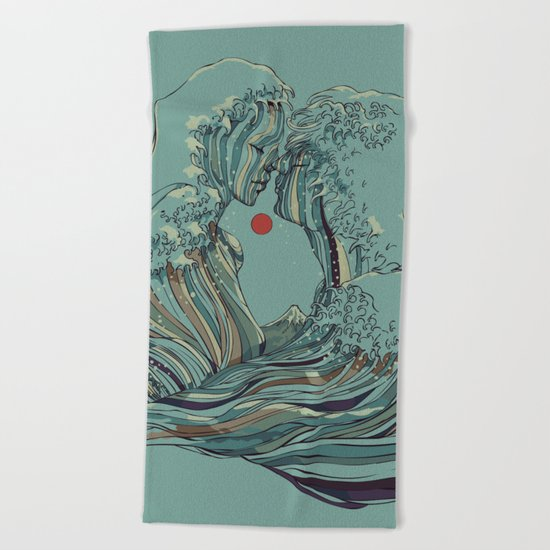 Kissing The Wave Beach Towel