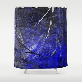 In The Dead Of Night - Textured Abstract In Blue, Black and White Shower Curtain