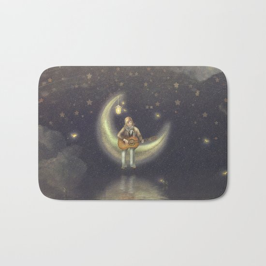 Story about boy who play guitar on moon Bath Mat