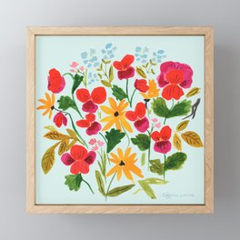 Pansies, Flowers, Happy, Sunshine, Sunflowers Framed Mini Art Print