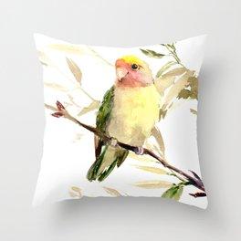 Lovebird, yellow green cute bird artwork Throw Pillow