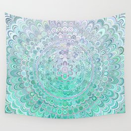 Turquoise Ice Flower Mandala Wall Tapestry