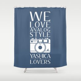 """We Love Analog"" Shower Curtain"