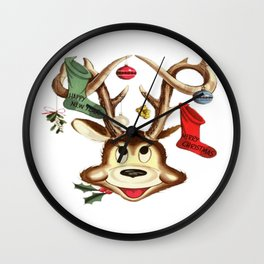 Reindeer Antlers and Christmas Stockings  Wall Clock