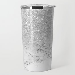 Modern faux grey silver glitter ombre white marble Travel Mug