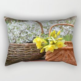 Spring Blossoms in Baskets Rectangular Pillow