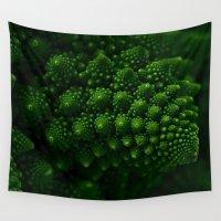 fibonacci Wall Tapestries featuring Macro Romanesco Broccoli - Low Key by Nicolas Raymond